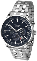 Sekonda 1008.27 Chronograph Bracelet Strap Watch, Silver/dark Blue