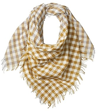 Chan Luu 100% Cotton Woven Square Gingham Scarf (Dapple Grey) Scarves