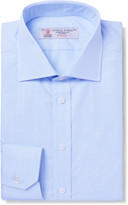 Turnbull & Asser - Blue Slim-fit Cutaway-collar Cotton-jacquard Shirt