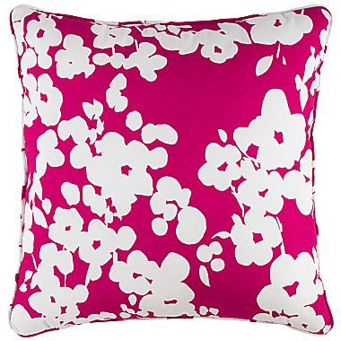 """JCPenney jcp homeTM Poppies 16"""" Square Decorative Pillow"""