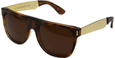 RetroSuperFuture Super Sunglasses Flat Top Havanna Glitter Gold Temple