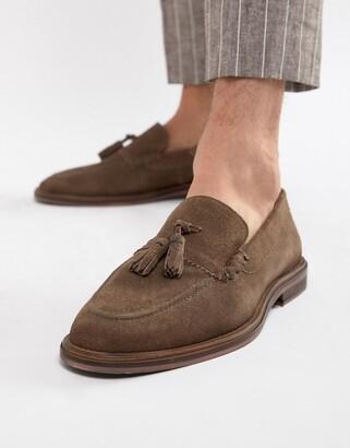 Walk London West tassel loafers in taupe suede-Beige