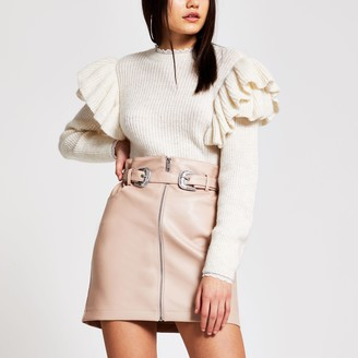 River Island Womens Pink faux leather zip front belted mini skirt
