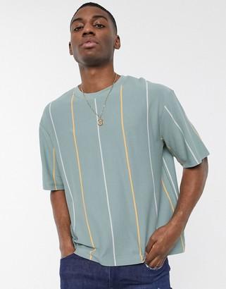 Topman boxy striped t-shirt in green