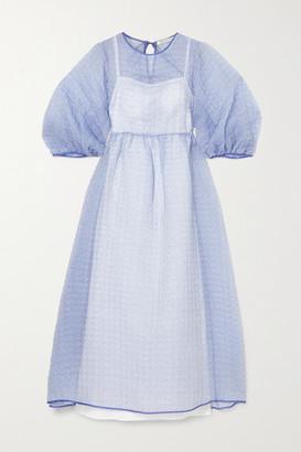 Cecilie Bahnsen Karmen Printed Silk-organza Midi Dress - Blue