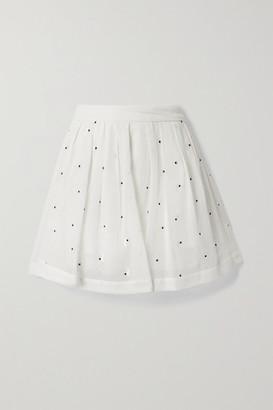 Fleur Du Mal Pleated Embroidered Silk Crepe De Chine Mini Skirt - White
