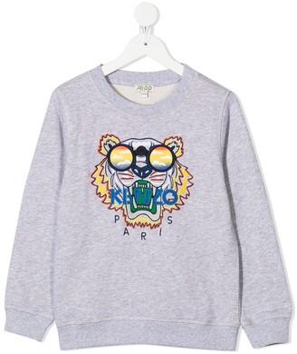 Kenzo Kids Tiger embroidered cotton sweatshirt
