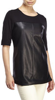 Bagatelle Faux Leather Paneled Top