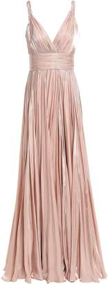 Jenny Packham Pleated Iridescent-effect Satin Gown