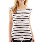 Liz Claiborne Short-Sleeve Striped T-Shirt