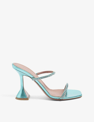Amina Muaddi Gilda crystal-embellished metallic-leather heeled sandals