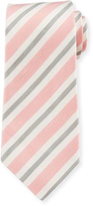 Isaia Men's Striped Silk-Linen Tie