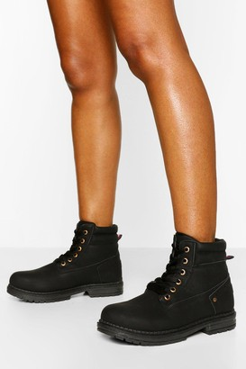 boohoo Padded Cuff Lace Up Hiker Boots
