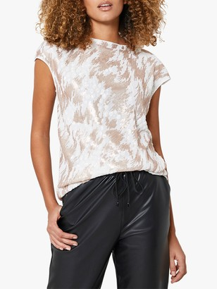 Mint Velvet Animal Embellished Short Sleeved Top