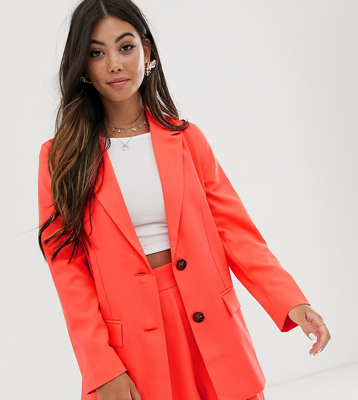 Asos DESIGN Petite pop coral soft suit blazer-Pink