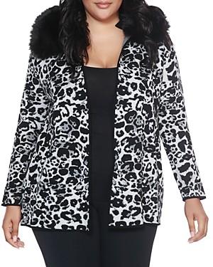 Belldini Plus Faux-Fur Collar Jacquard Cardigan