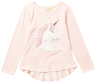 Btween Long Sleeve Unicorn Print High/Low Top (Little Girls)