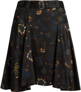 A.L.C. Brien floral-print silk-seersucker skirt