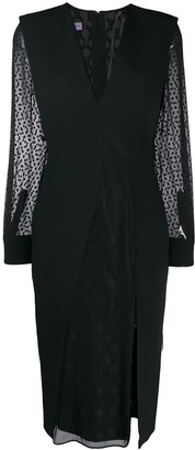 Emanuel Ungaro Pre Owned 1990's Sheer Sleeves Slit Dress