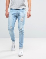 Hoxton Denim Jeans Skinny Bleach Out Small Rip and Repair Jean