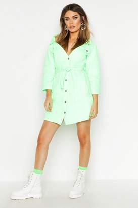 boohoo Neon Off The Shoulder Denim Dress