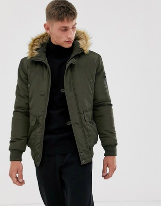 French Connection faux fur hood flight jacket-Green