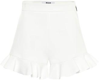 MSGM Ruffled high-rise cady shorts