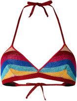 Laneus lurex striped bikini top