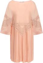 Alberta Ferretti Lace-trimmed Pleated Chiffon Mini Dress