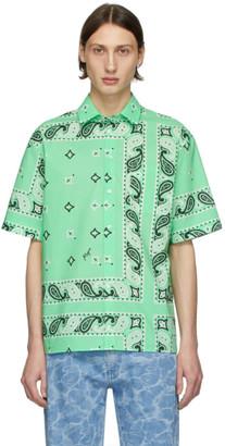 MSGM Green Bandana Print Shirt