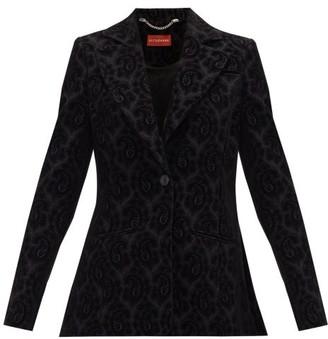 Altuzarra Acacia Paisley-jacquard Wool-blend Velvet Jacket - Black