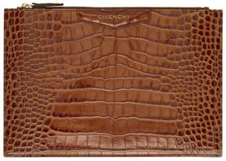Givenchy Brown Croc Medium Antigona Pouch
