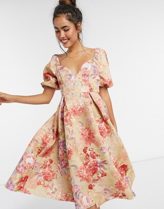 ASOS DESIGN garden party vintage cup detail prom midi dress in floral print