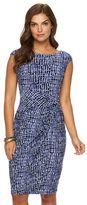 Chaps Petite Knot-Front Faux-Wrap Dress