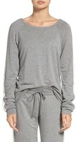 PJ Salvage Women's Cable Knit Trim Fleece Pullover