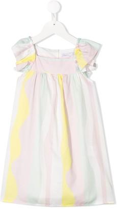 Patachou Colour Block Ruffle Sleeve Dress