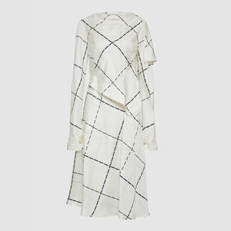Victoria Beckham Cream Check-Print Draped Sleeve Silk Midi Dress UK 8