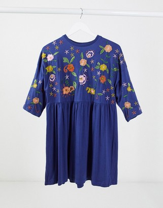 ASOS DESIGN embroidered smock dress in navy
