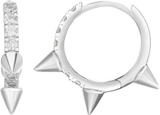 Sphera Milano 14K White Gold Plated Sterling Silver Spiked Pave CZ Huggie Hoop Earrings