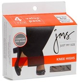 BEIGE Jms Knee Highs Reinforced Toe One Size 4 PK, 4.0 CT