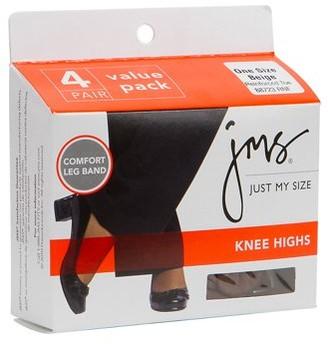 BEIGE Knee Highs Reinforced Toe One Size 4 PK, 4.0 CT
