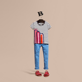 Burberry Rainbow Appliqué Striped Cotton T-shirt