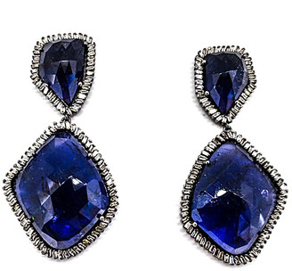 Arthur Marder Fine Jewelry Silver 4.00 Ct. Tw. Diamond & Tanzanite Earrings