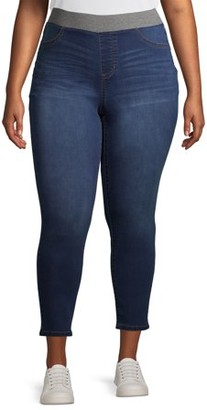 No Boundaries Juniors' Mid Rise Pull-On Jeggings with Rib Waistband