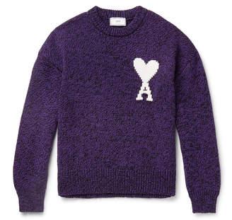Ami Oversized Logo-Intarsia Cotton And Merino Wool-Blend Sweater