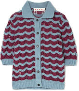 Marni Crocheted Wool-blend Cardigan - Blue