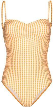Peony Swimwear Gingham Check Print Swimsuit
