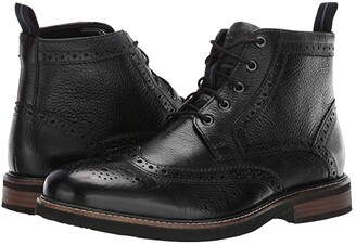 Nunn Bush Odell Wingtip Boot with KORE Walking Comfort Technology (Black Tumbled) Men's Lace-up Boots