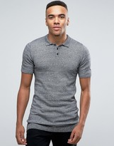Asos Longline Knitted Polo in Muscle Fit