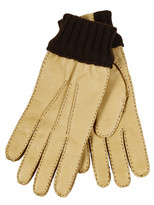 Restelli Deer Gloves With Stitching In Contrast
